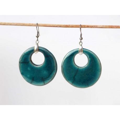 Boucles d'oreilles turquoises grandes et rondes