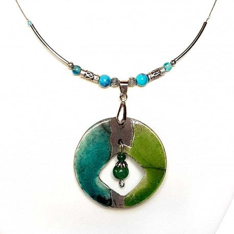 Collier artisanal léger vert et turquoise