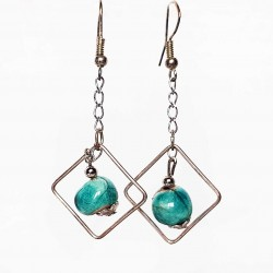 Boucles d'oreilles légères perles  turquoises