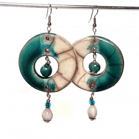 Grandes boucles d'oreilles en turquoise et blanc