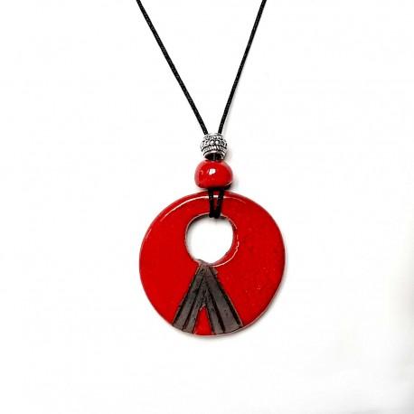 Collier rond rouge et noir réglable