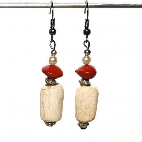 Boucles d'oreilles légères céramique et graines