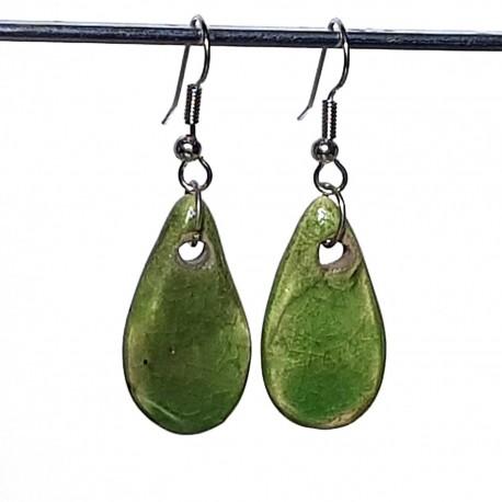 Boucles d'oreilles gouttes nature verte