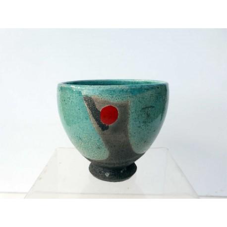 Bol à thé turquoise au point rouge