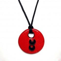 Collier rond réglable rouge et noir