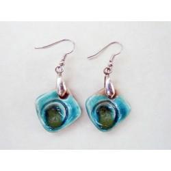 Boucles d'oreilles losange bleu