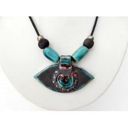 Collier réglable oeil brillant noir et turquoise