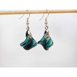 Boucles d'oreilles tortillons bleus