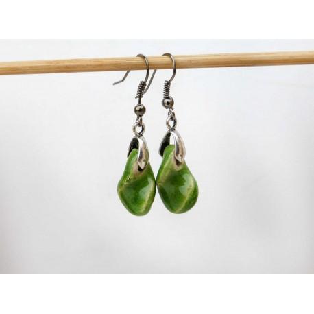 Boucles d'oreilles feuilles petits tortillons verts