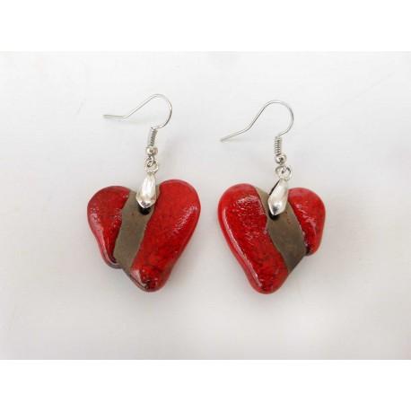 Boucles d'oreilles coeur rouge et noir