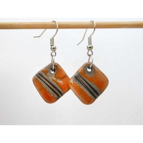 Boucles oreilles carrées orange et noir