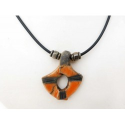 Collier mode tendance orange et noir