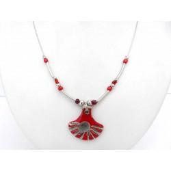 Collier eventail rouge et noir création artisanale