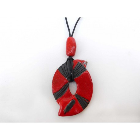 Collier original réglable rouge éclatant  et noir