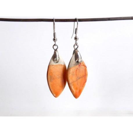 Boucles oreilles losange orange et noir