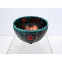 Bol raku brillant au point rouge