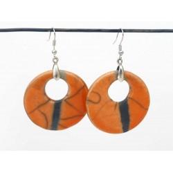 Grandes boucles d'oreilles rondes oranges gaies et estivales