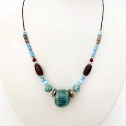 Collier réglable perles céramique et verre